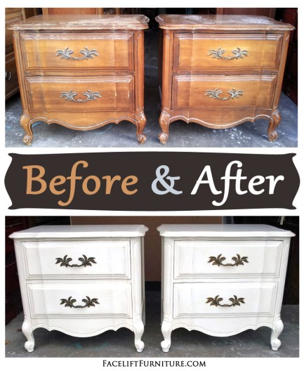 Antiqued White French Nightstands - Before and After from Facelift Furniture