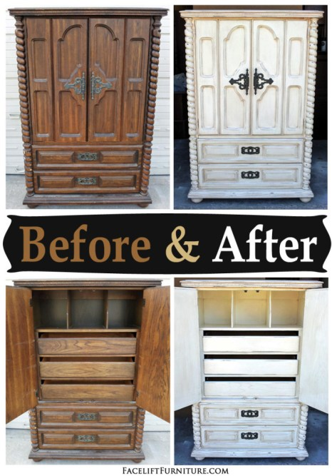 Chunky Clothing Armoire in distressed Off White with Tobacco Glaze - Before & After from Facelift Furniture's DIY Blog