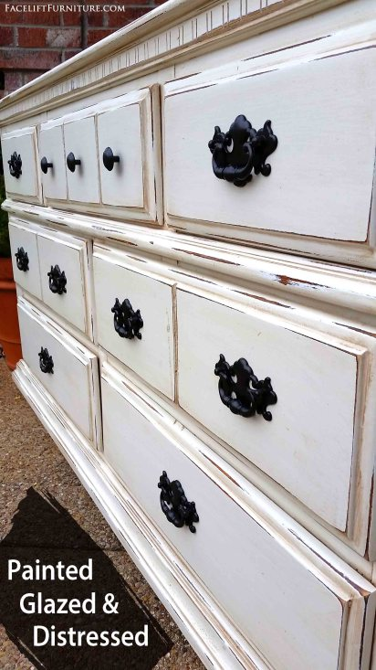 Dresser in distressed Off White with Tobacco Glaze - From Facelift Furtnire's DIY Blog