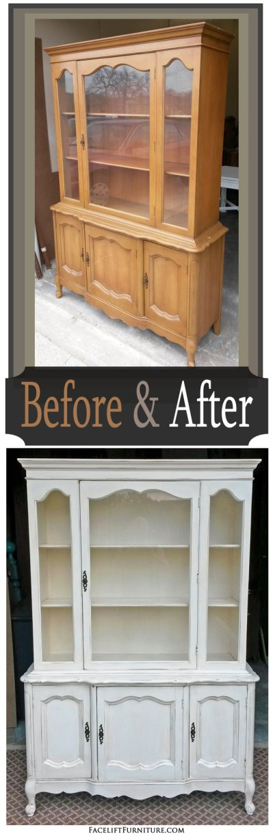 Off White French Hutch - Before & After