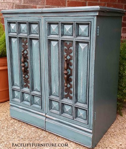 Distressed Sea Blue Vintage Sewing Cabinet Facelift Furniture