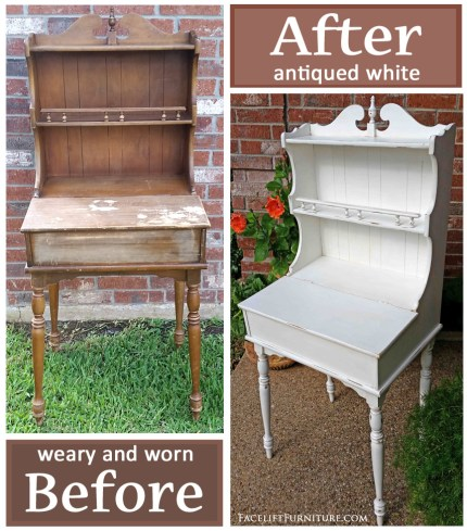 Weary old maple writing desk with hutch in distressed Antiqued White - Before & After