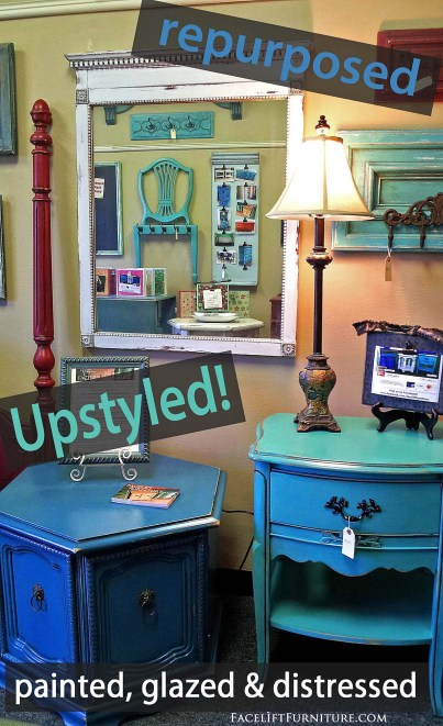 Repurpose and upstyle old furniture pieces with paint, glaze & distressing. DIY Inspiration from Facelift Furniture
