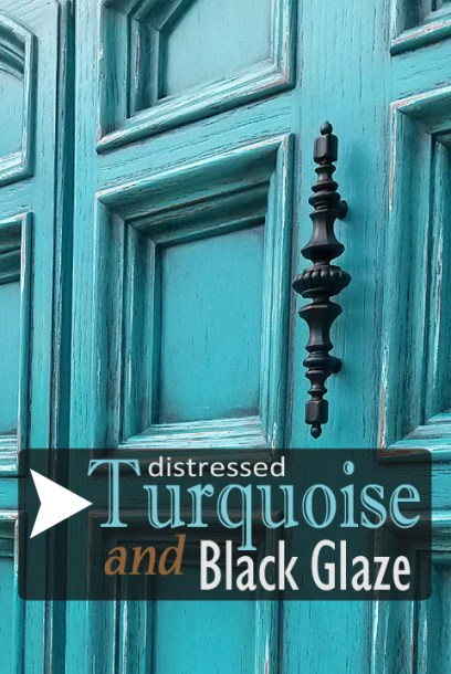 Armoire in distressed Turquoise & Black Glaze - DIY Inspiration from Facelift Furniture