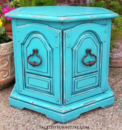 Turquoise Hexagon End Table