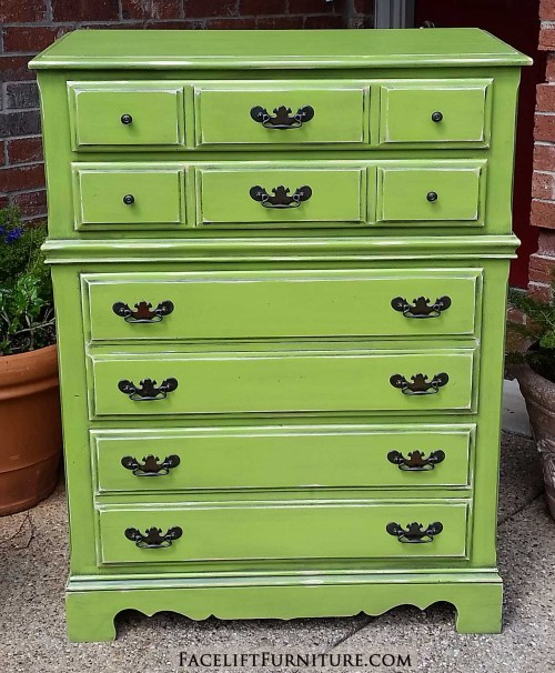 Vintage 1962 maple chest of drawers in distressed Lime Green with Black Glaze accenting molding - From Facelift Furniture