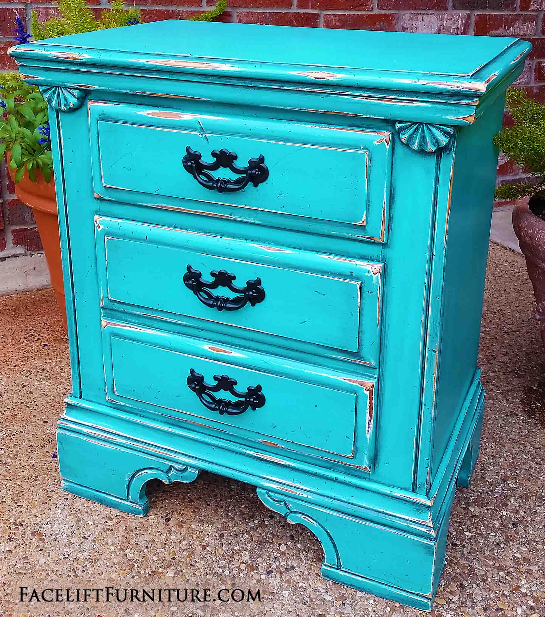 Greatest Nightstand in Distressed Turquoise & Black Glaze - Facelift Furniture RO46