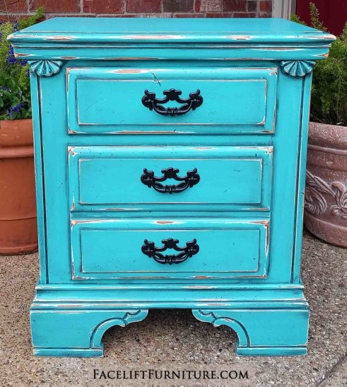 Nightstand Turquoise Distressed