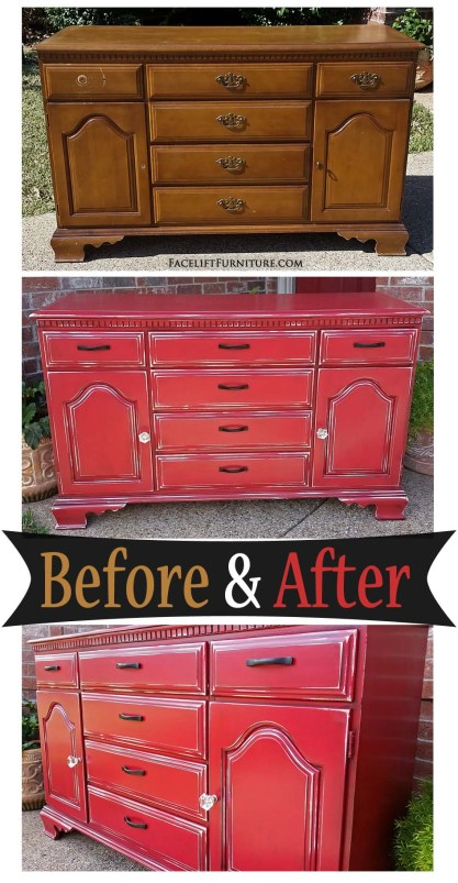 Worn out vintage maple cabinet given a new life in Barn Red & Black Glaze - Before & After from Facelift Furniture