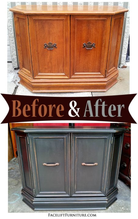 Hall Table in Distressed Black - Before & After from Facelift Furniture