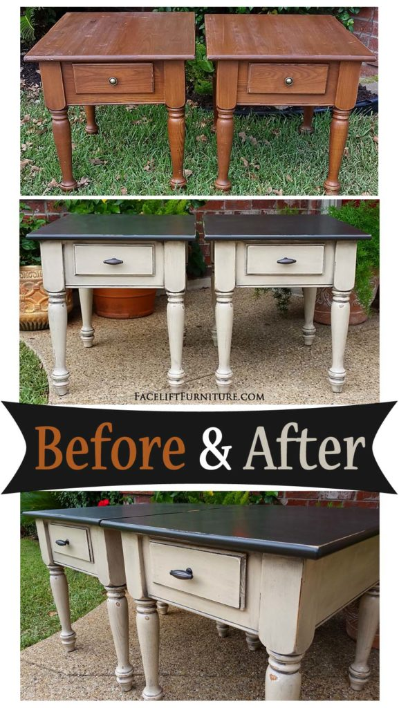 Matching End Tables In Distressed Black U0026 Oatmeal   Before And After From  Facelift Furniture