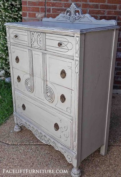 Art deco antique chest of drawers in distressed Aspen Gray with Black Glaze