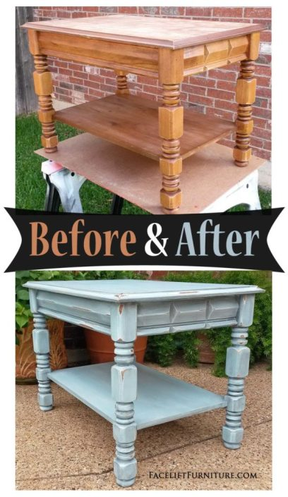 End Table refinished in Robin's Egg Blue and Black Glaze - Before and After from Facelift Furniture