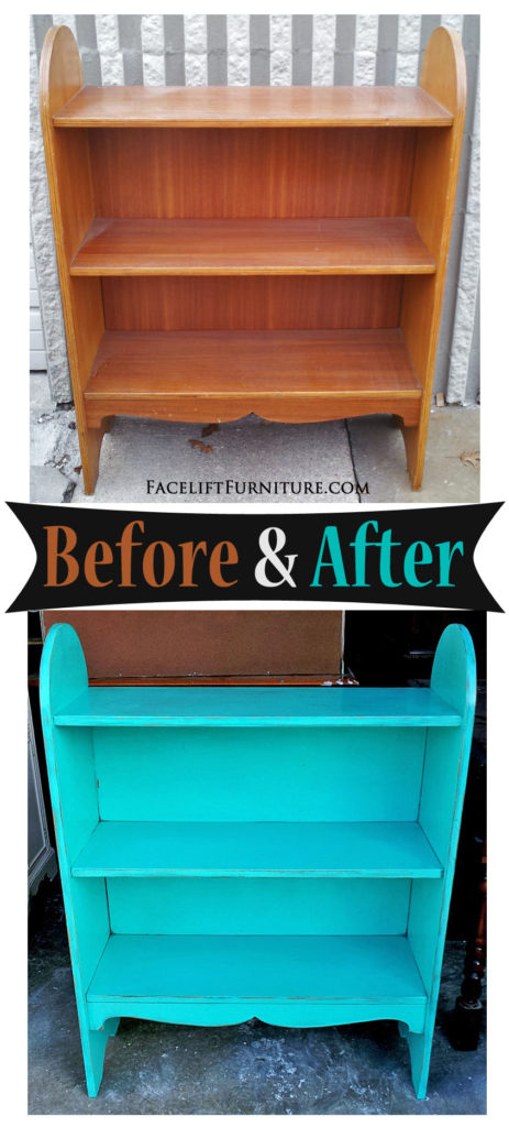 Bookshelf In Distressed Turquoise   Before U0026 After