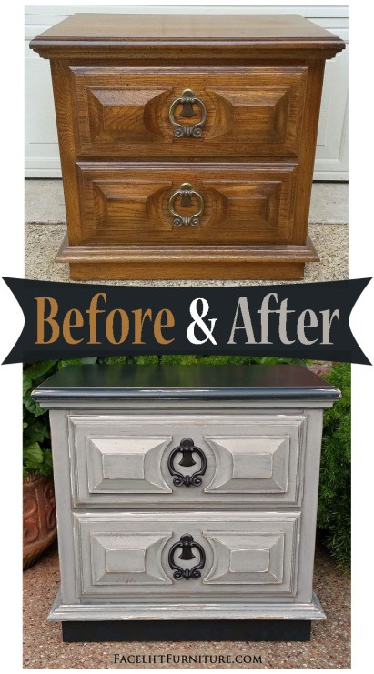 Nightstand given a new life in Black & Apsen Gray - Before & After from Facelift Furniture