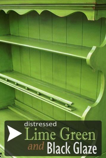 How distressed Lime Green and Black Glaze transformed this vintage maple hutch.