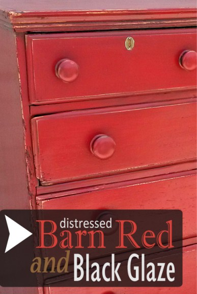 Antique Chest in Distressed Barn Red with Black Glaze ...