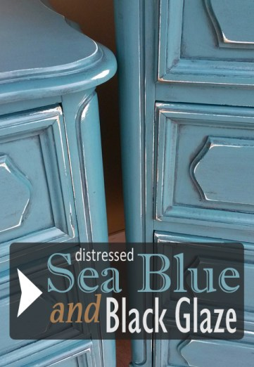 Sea Blue and Black Glaze on French Provincial Bedroom Furniture - DIY Inspiration from Facelift Furniture!