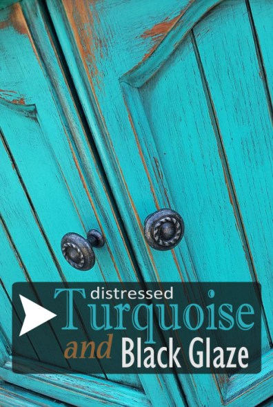 End Table in Distressed Turquoise with Black Glaze - DIY Inspiration from Facelift Furniture