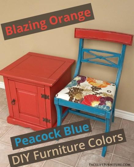 Blazing Orange & Peacock Blue DIY Furniture Colors - from Facelift Furniture
