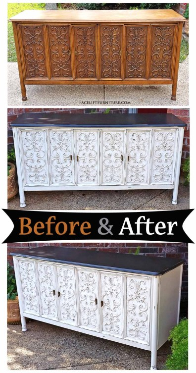 Ornate buffet in dark brown and antiqued white - Before & After from Facelift Furniture