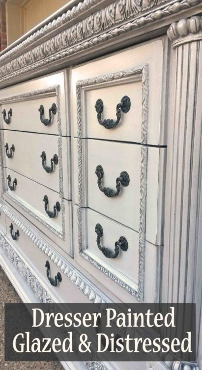 Ornate Dresser in Aspen Gray with Black Glaze - DIY Inspiration from Facelift Furniture