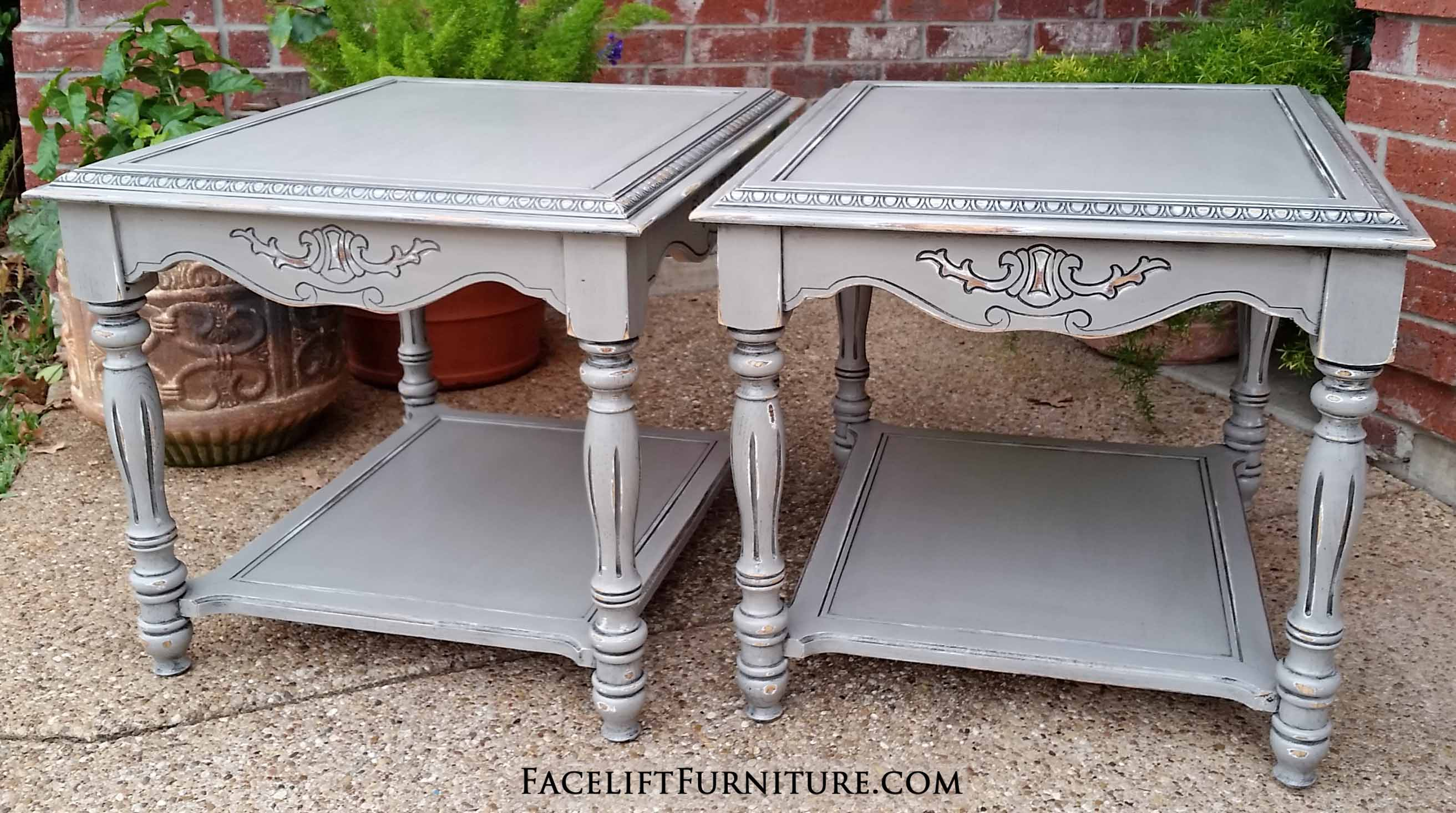 For Sale $100 U2013 Ornate End Tables In Aspen Gray With Black Glaze.  Distressing Reveals White Primer And Original Wood Tones. 27u2033 Long, 23u2033  Wide, 21u2033 Tall.