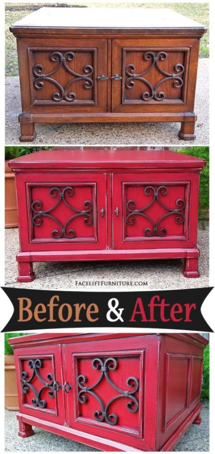 Coffee Table in distressed Barn Red with Black Glaze - Before and After from Facelift Furntiure