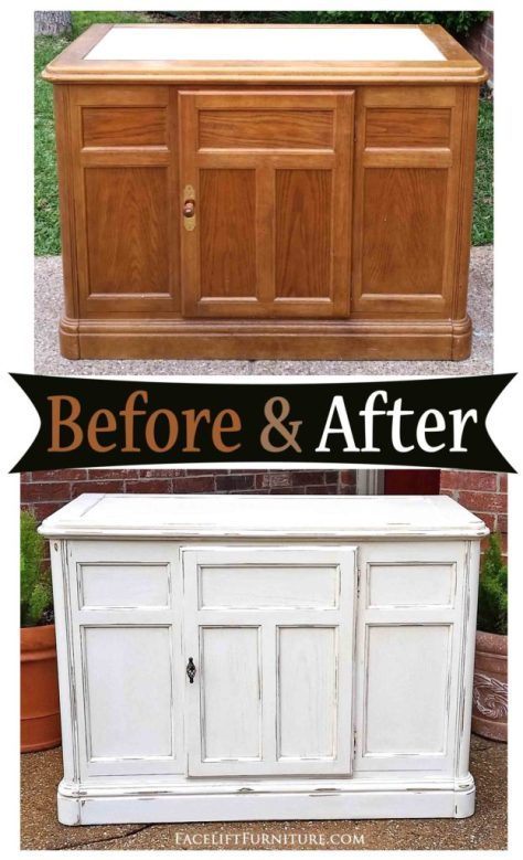 Cabinet in Distressed Off White with Tobacco Glaze - Before & After from Facelift Furniture