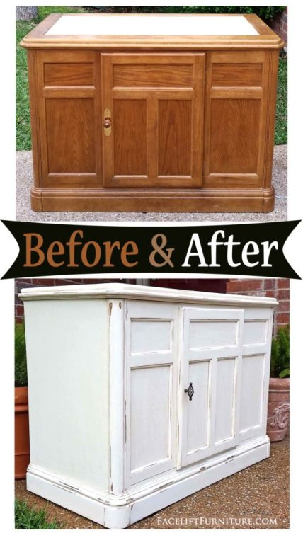 Distressed Off White Cabinet with Tobacco Glaze - Before & After from Facelift Furniture