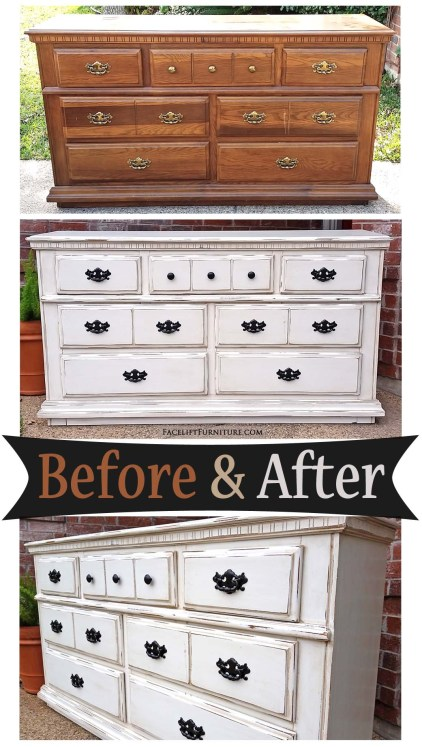 Dresser in distressed Off White with Tobacco Glaze - Before and After from Facelift Furniture