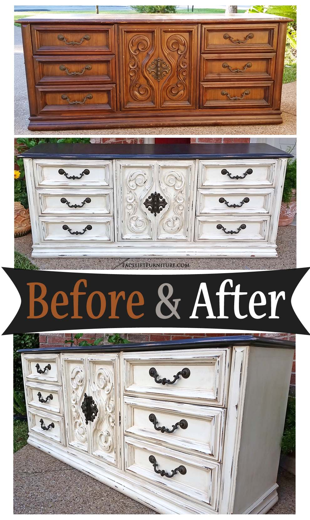 Merveilleux This Big Old Vintage Dresser Was Given A New Life With Paint, Glaze And  Distressing.