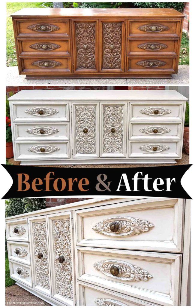 Perfect Distressed Off White Ornate Dresser   Before U0026 After