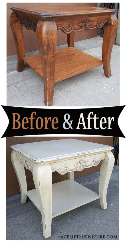 Chunky end table in distressed Off White and Tobacco Glaze - Before and After from Facelift Furniture