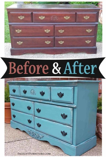 Dresser in Distressed Sea Blue - Before and After from Facelift Furniture!