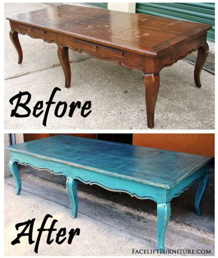 Curvey Coffee Table in Distressed Sea Blue & Black Glaze - Before & After from Facelift Furniture