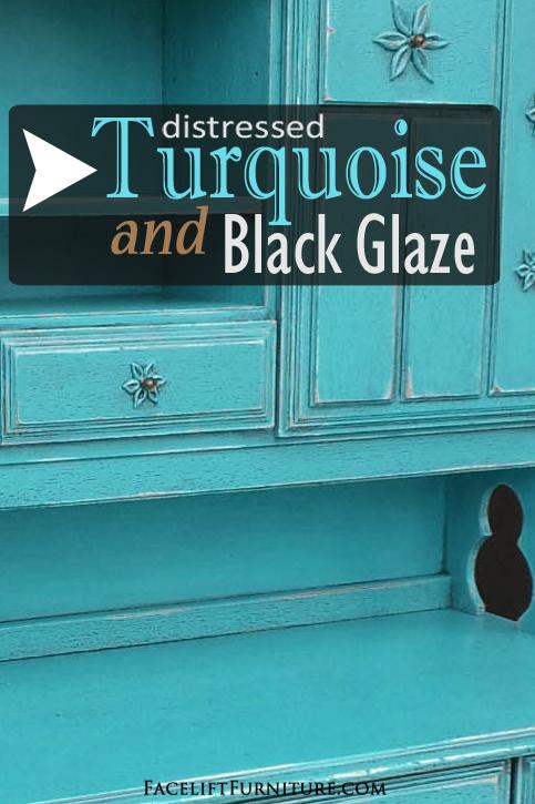 Desk REDO In Distressed Turquoise U0026 Black Glaze
