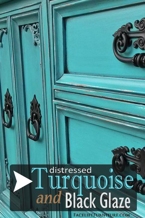 Dresser REDO In Turquoise U0026 Black Glaze