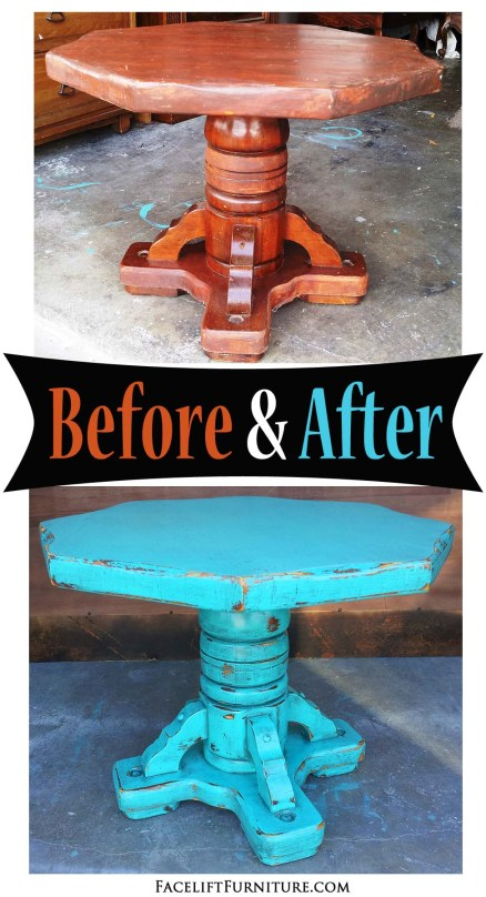 Chunky pedestal end table in distressed Turquoise and Black Glaze - Inspiration from Facelift Furniture