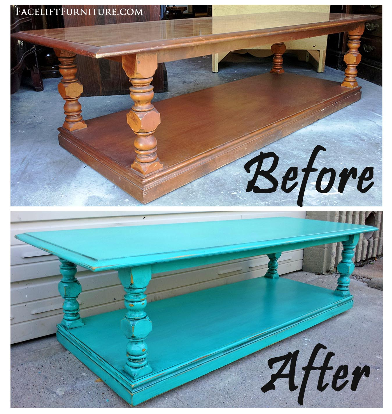 This Chunky Vintage Coffee Table Was Given An Updated Look With Paint,  Glaze And Distressing.