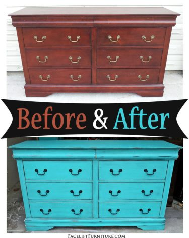 Distresser in Distressed Turquoise with Black Glaze - Before & After from Facelift Furniture