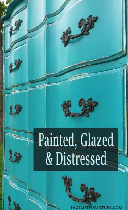 Painted, Glazed & Distressed French Chest in Turquoise & Black Glaze - DIY inspiration from Facelift Furniture