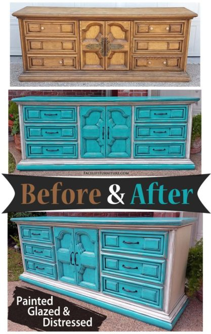 Dresser in distressed Turquoise and Off White with Black Glaze - Before and After from Facelift Furniture
