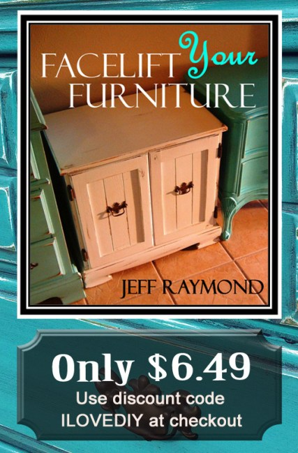 Learn to paint, glaze and distress your furniture! Purchase Facelift Your Furniture for only $6.49 with code ILOVEDIY