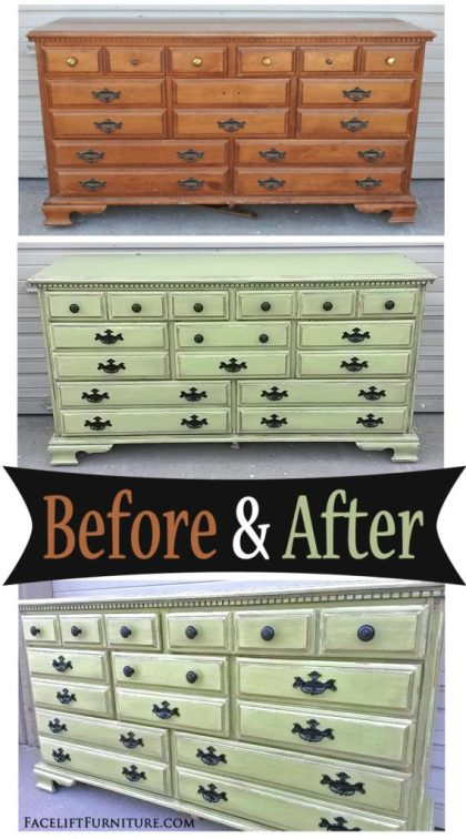 Dresser in Distessed Yellow-Green - Before & After