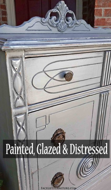 Painted, glazed and distressed art deco chest of drawers in Aspen Gray - DIY I\inspiration from Facelift Furniture