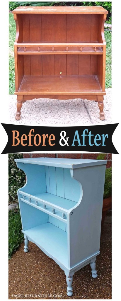 Maple Bookshelf in Distressed Robin's Egg Blue - Before & After from Facelift Furniture