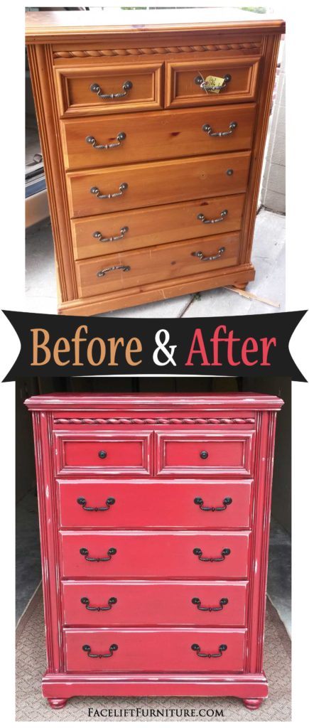 Chest of Drawers in Distressed Barn Red - Before & After