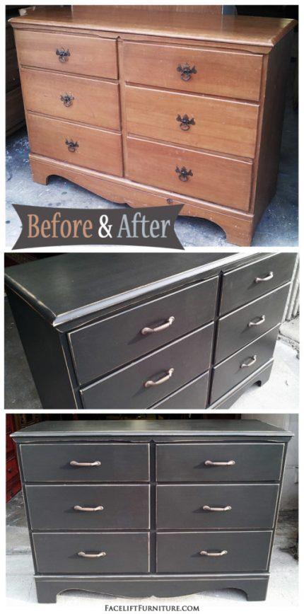dresser in distressed black before after facelift furniture