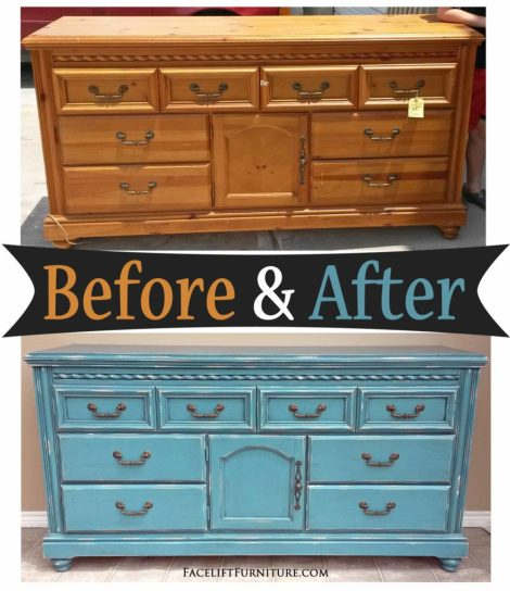 Dresser in Distressed Sea Blue with Black Glaze - Before & After